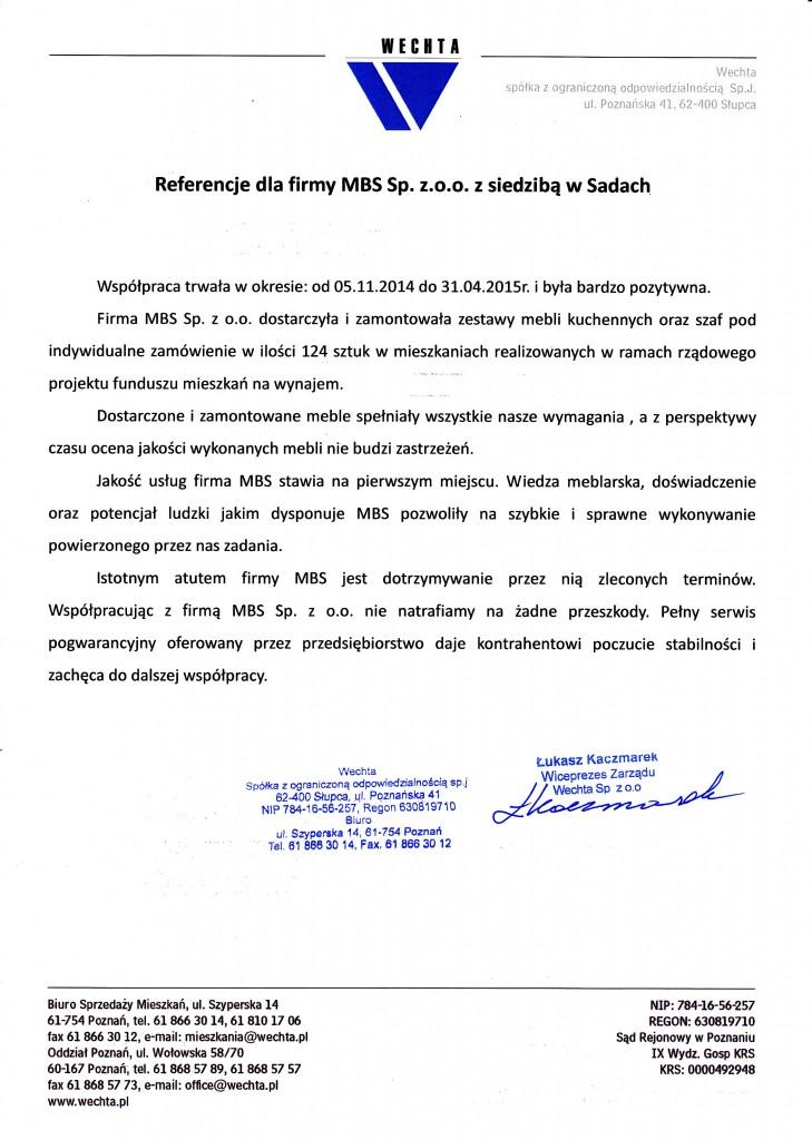 Referencje od firmy Wechta Sp. z o.o.